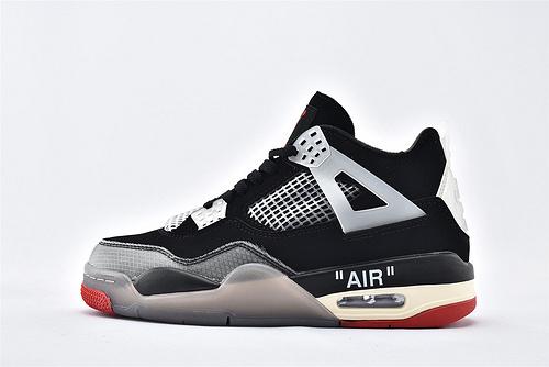 Air Jordan 4 RERO x Off-White AJ4 乔丹4代篮球鞋/OW联名款 黑白 蚕翼  货号:AQ9129-060  男女鞋  情侣款