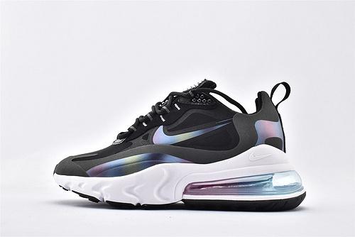 Nike Air Max 270 React半掌气垫跑鞋/黑白 彩虹渐变 氮气缓震大底 原标原盒  货号:CT5064-001 女鞋