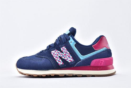 New Balance 新百伦WL574LDL 复古跑鞋/深蓝红尾 编织logo 进口猪皮革 原标原盒  女鞋