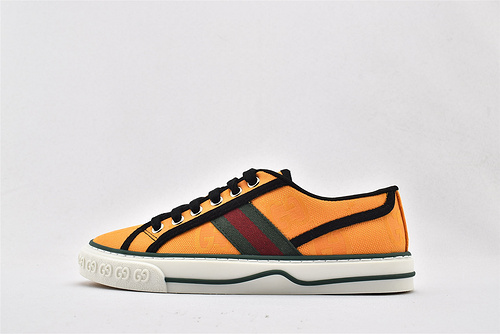 Gucci/古驰 Gucci 鼠年限定款 2020最新发售 经典帆布板鞋/黑橙 发售    版 芯片版  男女鞋  情侣款