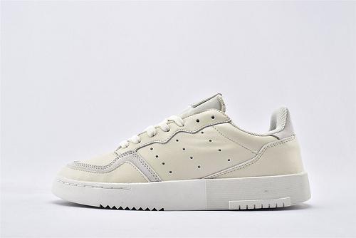 Adidas 三叶草 SUPERCOURT 夏季复古板鞋/米白 原盒原标  货号:EE6047  男鞋