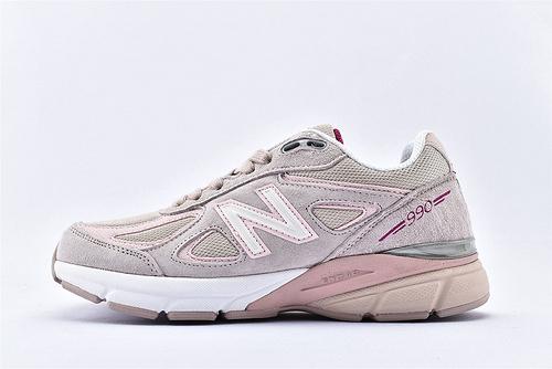 New Balance 新百伦M990KMN4复古高端美产总统慢跑鞋/ 灰粉 3M反光版 原盒原标 余文乐代言   女鞋