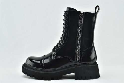 Balenciaga/巴黎世家 2020秋冬新款 高帮马丁靴/黑色 侧面拉链 漆皮亮面  女鞋