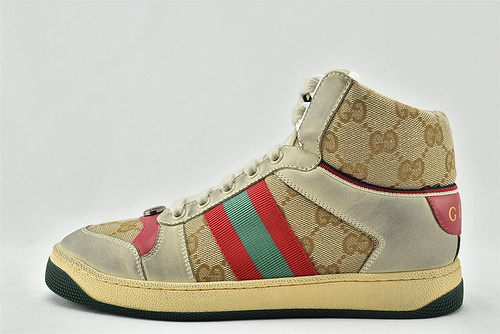 Gucci/古驰 小脏鞋 系列板鞋/高帮 灰红老花 经典 原版自然做旧 发售   芯片 版   女鞋