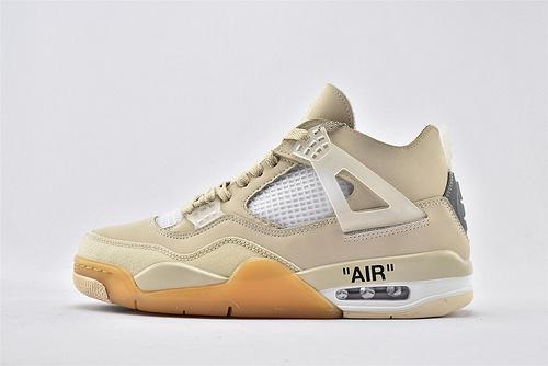 Air Jordan 4 Retro Bred AJ4 乔丹4代篮球鞋/联名 米黄 字母印花  全头层  货号:308497-770  男鞋