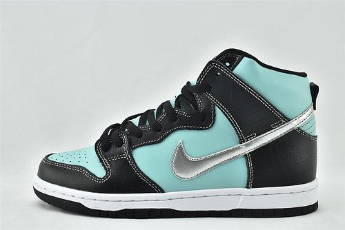 Nike SB Dunk High Diamond Tiffany高帮滑板鞋/2014 钻石 黑蓝  货号:653599-400   男女鞋  情侣款