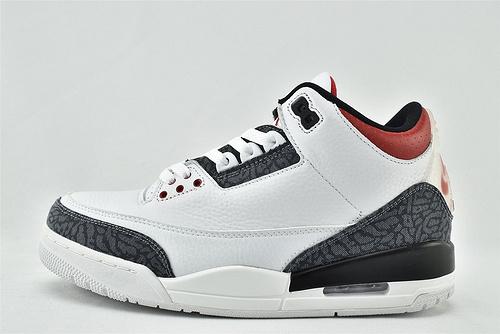 Air Jordan 3 Retro SE  AJ3 乔丹3代篮球鞋/白水泥 火焰红 丹宁牛仔 爆裂纹 日本限定款  货号:CZ6431-100   男女鞋  情侣款