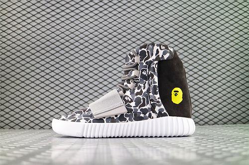 Adidas Yeezy Boost 750 Light Brown x 迷彩猿人头 Aape 联名款 侃爷椰子750系列/高帮迷彩/海外版 货号:BB1756 男女鞋 情侣款