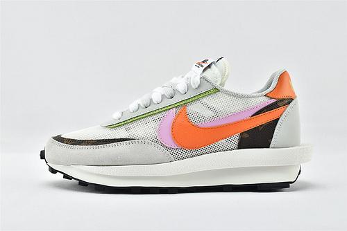 Sacai x Nike LVD Waffle Daybreak 联名走秀款解构高端跑鞋/华夫2.0 浅灰白鸳鸯LV 透明 夏款  货号:BV0076-002  男女鞋  情侣款
