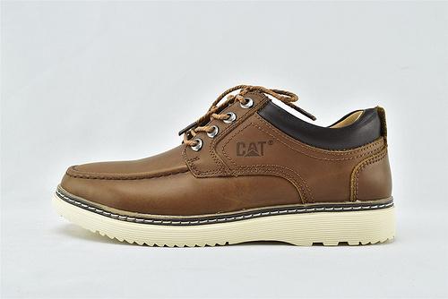 卡特/CAT 2021新款 美版低帮休闲皮鞋/咖色 草绿色  男鞋