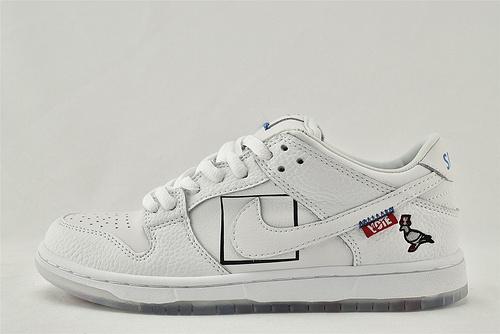 Nike SB Dunk Low 低帮滑板鞋/白格子 水晶透明底彩虹色  刺绣logo  货号:883232-010   男女鞋  情侣款