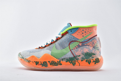 Nike ZOOM KD12 EP 杜兰特12代高端篮球鞋/橙蓝绿 牡丹【实战版】 纯原版  货号:AR4230-500  男鞋