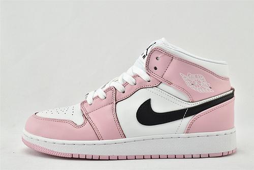 Air Jordan 1 Mid AJ1乔丹1代中帮篮球鞋/粉白   货号:BQ6472-500  男女鞋  情侣款