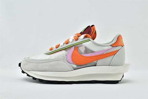 Sacai x Nike LVD Waffle Daybreak 联名走秀款解构高端跑鞋/华夫2.0 灰橘 透明 夏款  货号:DH1347-100   女鞋