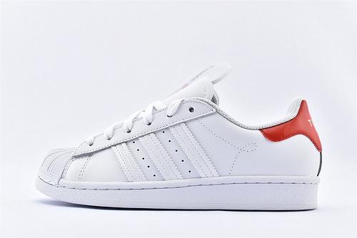 Adidas 三叶草 Superstar 贝壳头板鞋/2020新款 城市限定系列 白黑 红尾  货号:FW2829  男女鞋 情侣款