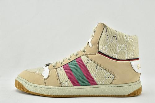 Gucci/古驰 小脏鞋 系列板鞋/高帮 米黄红 经典 原版自然做旧 发售  芯片 版  女鞋