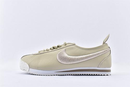 Nike Cortez '72 阿甘系列/科特斯 米黄刺绣 头层软皮版 原盒原标  货号:881205-101 男女鞋  情侣款