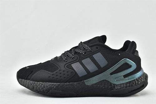 Adidas 三叶草 DAY JOGGER boost 夜行者2.0缓震跑鞋/全黑 镭色 3M反光版   货号:FY3015  男女鞋 情侣款