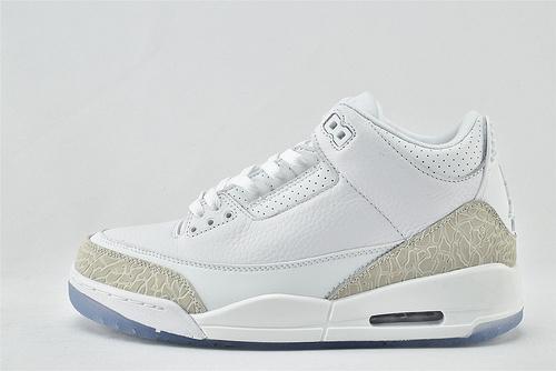Air Jordan 3 Retro AJ3 乔丹3代篮球鞋/白银 白猫 爆裂纹  全头层  货号:136064-111   男女鞋  情侣款