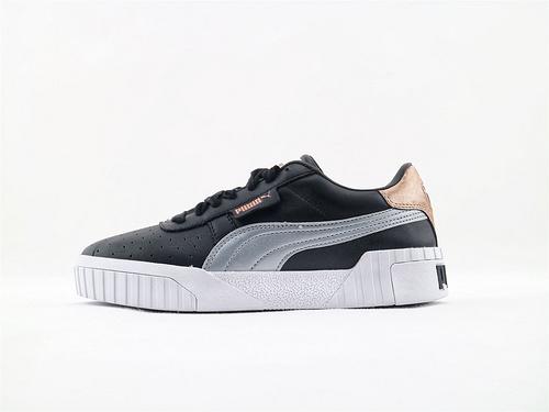 彪马/Puma Cali Women's2019春季新款休闲板鞋 全头层 黑银玫瑰金粉  货号:320258 02  女鞋