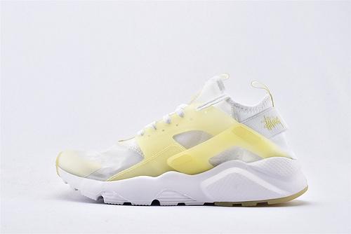 Nike Air Huarache Run Ultra 华莱士4.0系列跑鞋/白黄 果冻 网纱透明款 2020夏季新款  货号:875868-007  男女鞋  情侣款