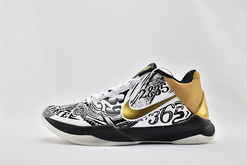 Nike Kobe 5 Lakers 科比5代 低帮篮球鞋/黑白金 鸳鸯 涂鸦  货号:CT8014-100  男鞋