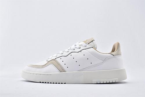 Adidas 三叶草 SUPERCOURT 夏季复古板鞋/全白  货号:EE6034  男女鞋  情侣款