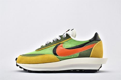 Sacai x Nike LVD Waffle Daybreak 联名走秀款解构高端跑鞋/网纱透明 黑绿黄橙 华夫款  神版  货号:BV0073-300  男女鞋  情侣款