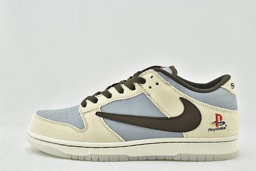 Nike SB Dunk Low 低帮滑板鞋/米白灰棕 反钩 水晶透明底  货号:CU1726-800  男女鞋  情侣款