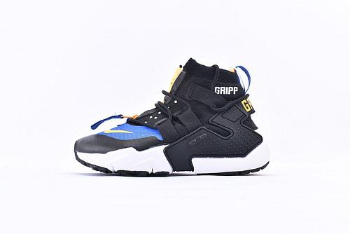 Nike Air Huarache Gripp华莱士高帮跑鞋/黑白蓝高  货号:AO1730-100  男女鞋  情侣款