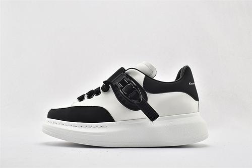 Alexander McQueen/亚历山大麦昆 松糕鞋厚底增高小白鞋/魔术扣 黑白男女鞋  情侣款