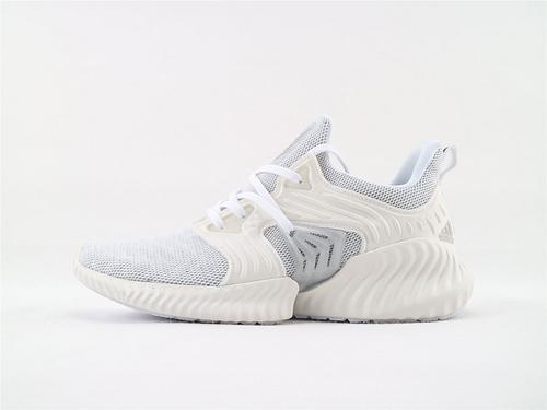 Adidas Alphabounce beyond M 阿尔法夏季网面跑鞋/浅灰白 原标原盒  货号:EF1240  男女鞋  情侣款
