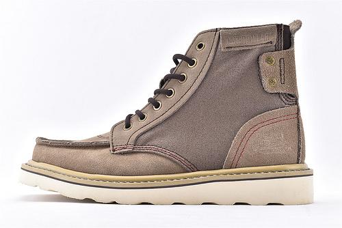 卡特/CAT 英伦复古高帮户外工装靴/经典深咖 正品原版头层牛皮拼接透气耐磨帆布  男鞋