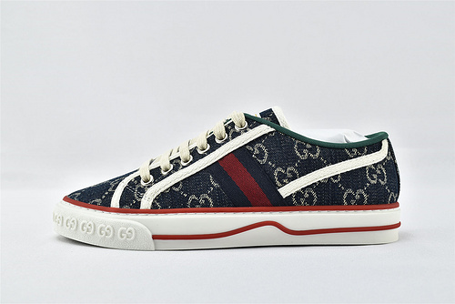 Gucci/古驰 2021新款发售 经典帆布板鞋/蓝牛仔   版 芯片版  男女鞋  情侣款