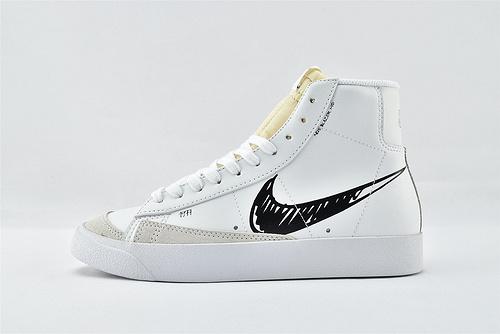 Nike Blazer Mid 77 Vintage 开拓者高帮板鞋/白黑涂鸦 手稿  货号:CW7580-101  男女鞋  情侣款