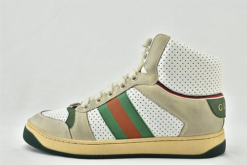 Gucci/古驰 小脏鞋 系列板鞋/高帮 灰白绿 经典 原版自然做旧 发售   芯片 版  男女鞋  情侣款