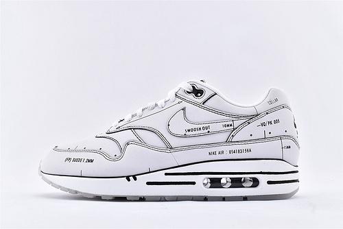 Nike Air Max 1 Tinker Schematic Sketch To Shelf小气垫复古跑鞋/手稿 二次纯原 白黑  货号:CJ4286-100  男鞋