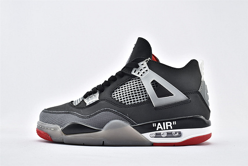Air Jordan 4 Retro Bred AJ4 乔丹4代篮球鞋/联名 黑灰 字母印花  全头层  货号:308497-060  男鞋