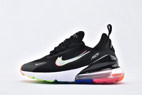 Nike Air Max 270 半掌气垫跑鞋/黑白彩虹  货号:AQ9164-109  男女鞋 情侣款