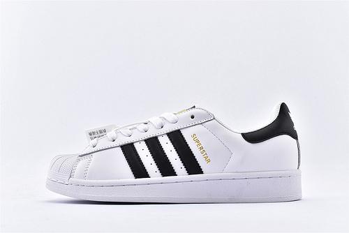 Adidas 三叶草 Superstar 贝壳头系列/黑白金标 经典款 常青款 货号:C77124  男女鞋  情侣款