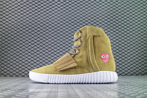 Adidas Yeezy Boost 750 Light Brown x 川久保玲 CDG PLAY 联名  侃爷椰子750系列/高帮小麦/海外版  货号:JW5359 男女鞋 情侣款