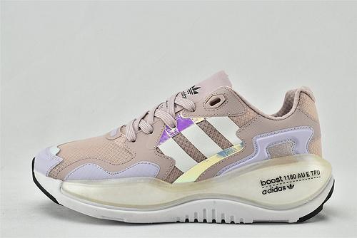 Adidas 三叶草 ZXALKYNEBoost 2020新款爆米花跑鞋/粉镭射 【180款】 货号:F V5384    女鞋