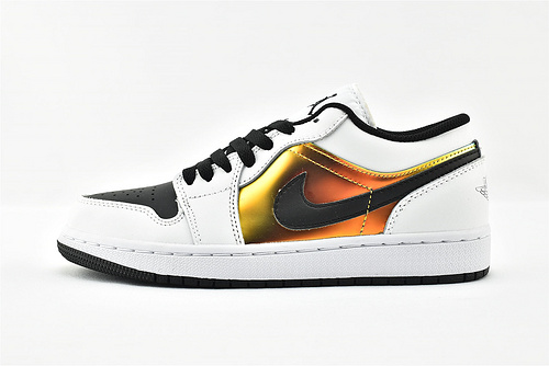 Air Jordan 1 AJ1 Low 乔丹1代低帮篮球鞋/黑白 镭色 金属色  货号:CV9844-109  女鞋