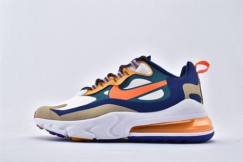 """Nike Air Max 270 React """"BAUHAUS"""" 半掌小气垫气垫跑鞋/白蓝橙棕 拼色 泡棉  芯片版 货号:CU3014-181  男鞋"""