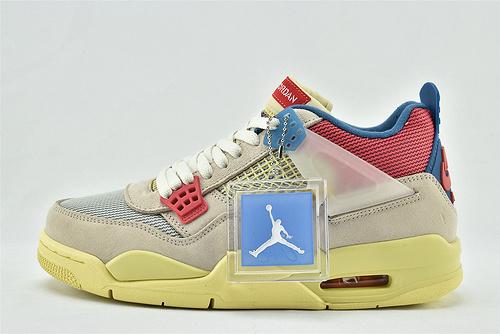 Union x Air Jordan 4 AJ4 联名 乔丹4代联名篮球鞋/粉红蓝 骑士款 南海岸  纯原版  货号:DC9533-800  男女鞋  情侣款