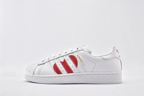 Adidas 三叶草 Superstar 贝壳头系列/白金 爱心 头层牛皮 原盒原标  货号:EG3396  男女鞋  情侣款