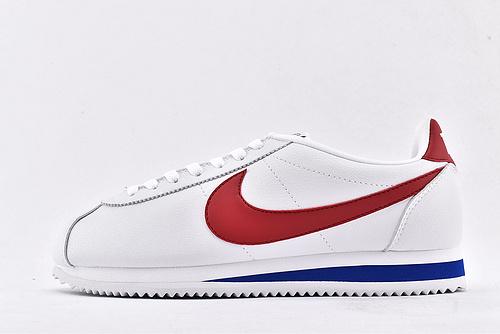 Nike Classic Cortez 纯原年  经典阿甘复古跑鞋/白蓝红鸳鸯 全头层 耐克logo  纯原版  货号:885724-164  男女鞋  情侣款