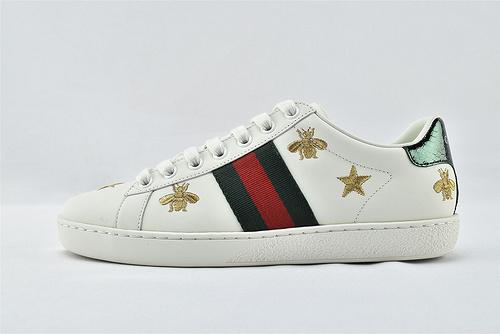 Gucci/古驰 小白鞋系列板鞋/ 五星蜜蜂 刺绣 2021新款绿盒+原盒   版 芯片 原盒  男女鞋  情侣款