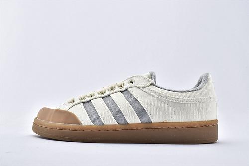 Adidas 三叶草 AMERICANA 低帮板鞋/帆布 米白灰 生胶底  货号:FV9906  男女鞋  情侣款