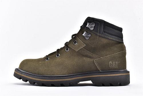 卡特/CAT 2019美版中帮复古皮靴/麂皮绒面 深绿  男鞋